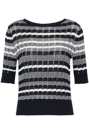 OSCAR DE LA RENTA Striped crochet-knit sweater