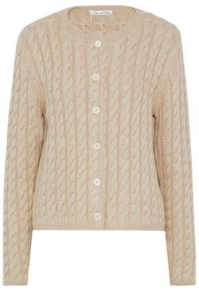 OSCAR DE LA RENTA Cable-knit silk and cashmere-blend cardigan