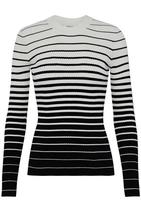 MILLY Striped dégradé ribbed-knit sweater