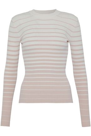 MILLY Striped dégradé ribbed-knit top