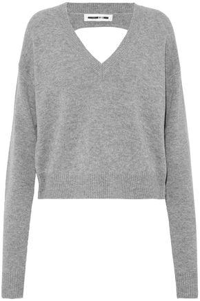 McQ Alexander McQueen Cutout mélange wool and cashmere-blend sweater