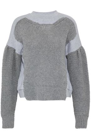 McQ Alexander McQueen Knitted and mélange cotton-jersey sweatshirt