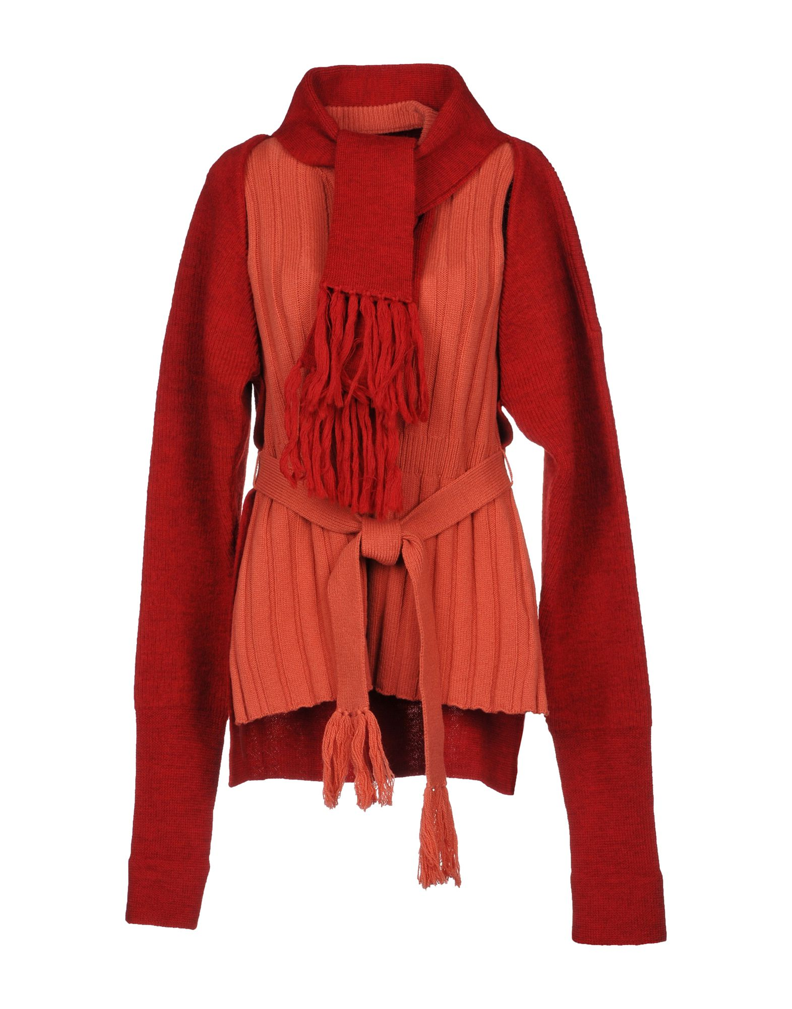 MAISON MARGIELA Twin sets. knitted, tassels, solid color, mélange, deep neckline, lightweight sweater, long sleeves, no pockets, 2-piece set, large sized. 100% Wool