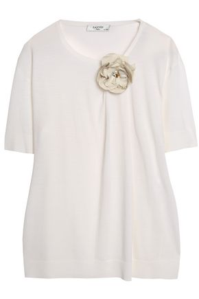 LANVIN Floral-appliquéd wool-blend top