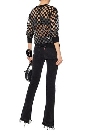 ALEXANDER WANG Intarsia knit-paneled burnout wool-blend top