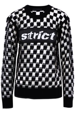 ALEXANDER WANG Checked intarsia-knit devoré and tulle wool-blend top