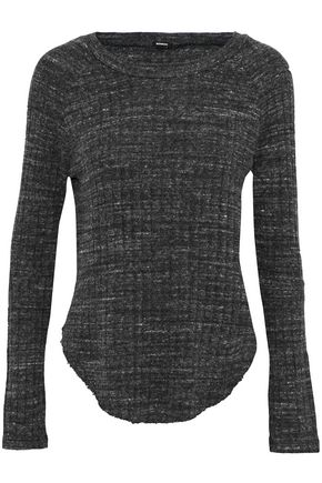 MONROW Mélange cutout ribbed-knit top