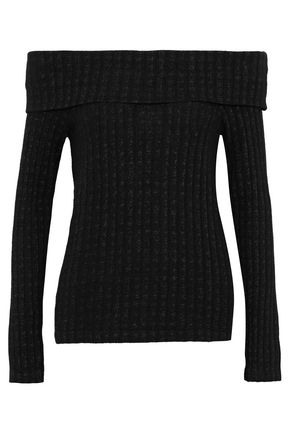 MONROW Off-the-shoulder ribbed-knit top