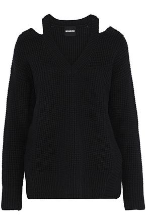 MONROW Cold-shoulder waffle-knit wool-blend sweater