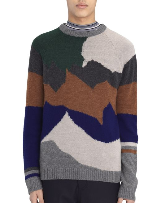 "CAMEL AND GRAY ""LANDSCAPE"" SWEATER - Lanvin"