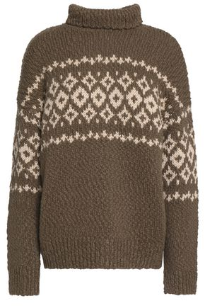 VINCE. Intarsia wool-blend turtleneck sweater