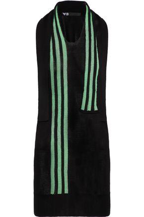 Y-3 + adidas open knit-trimmed stretch-knit tank