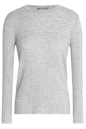 N.PEAL Mélange ribbed cashmere and silk-blend sweater