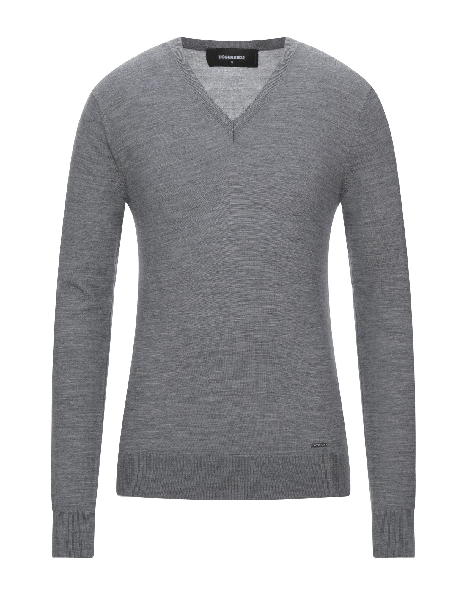 DSQUARED2 Sweaters. Knitted Mélange Logo Basic solid color V-neck Lightweight sweater Long sleeves No pockets Large sized. 100% Wool