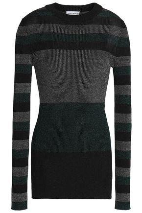 SONIA RYKIEL Metallic striped stretch ribbed-knit sweater