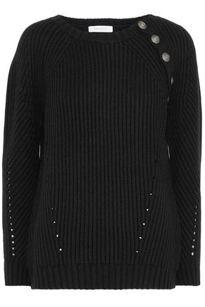 BALMAIN Button-detailed ribbed pointelle-knit wool-blend sweater