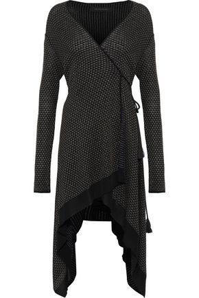 ROLAND MOURET Doncaster asymmetric metallic knitted wrap cardigan