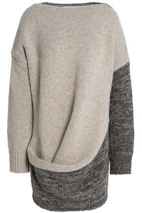 PRINGLE OF SCOTLAND Draped paneled wool and cashmere-blend sweater
