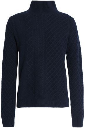 PRINGLE OF SCOTLAND Cable-knit merino wool and cashmere-blend turtleneck sweater
