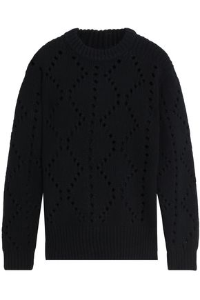 PRINGLE OF SCOTLAND Pointelle-knit wool and cashmere-blend sweater