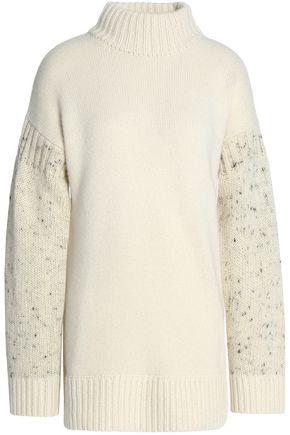 PRINGLE OF SCOTLAND Oversized paneled cashmere and wool-blend turtleneck sweater