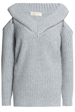 MICHAEL MICHAEL KORS Cold-shoulder zip-detailed ribbed-knit sweater