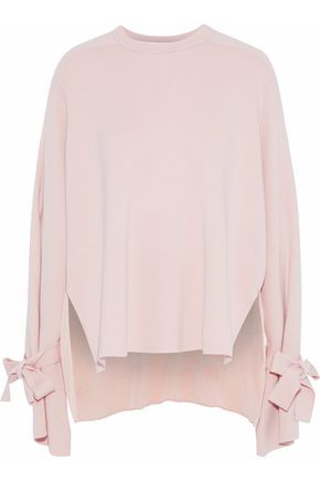 TIBI Silk crepe de chine-paneled merino wool sweater