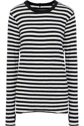 Enza Costa WOMAN STRIPED COTTON AND CASHMERE-BLEND TOP LIGHT GRAY