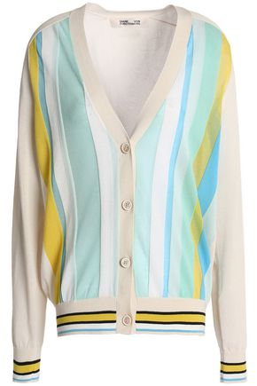 DIANE VON FURSTENBERG Striped cotton-blend cardigan