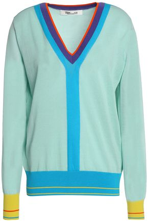 DIANE VON FURSTENBERG Color-block cotton-blend sweater