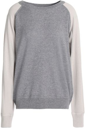MONROW Two-tone wool and cotton-blend sweater