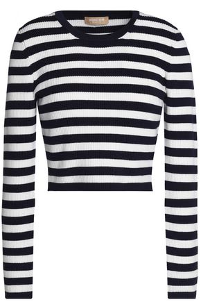 MICHAEL KORS COLLECTION Cropped striped merino wool-blend sweater
