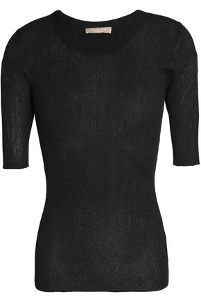 MICHAEL KORS COLLECTION Metallic ribbed-knit top