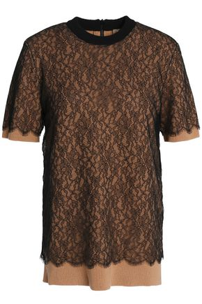 MICHAEL KORS COLLECTION Layered lace and cashmere-blend top
