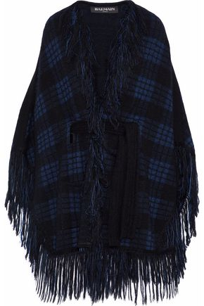 BALMAIN Fringed checked jacquard-knit wrap