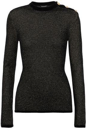 BALMAIN Button-detailed metallic knitted sweater