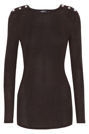BALMAIN Button-detailed wool and silk-blend sweater