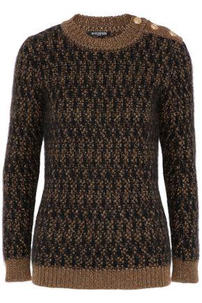 BALMAIN Metallic bouclé-knit mohair-blend sweater