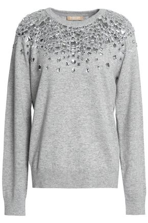 MICHAEL KORS COLLECTION Crystal-embellished mélange cashmere sweater