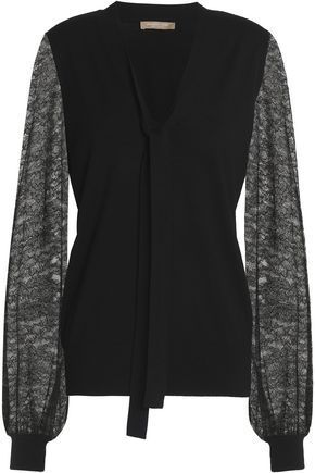 MICHAEL KORS COLLECTION Pussy-bow lace-paneled merino wool sweater