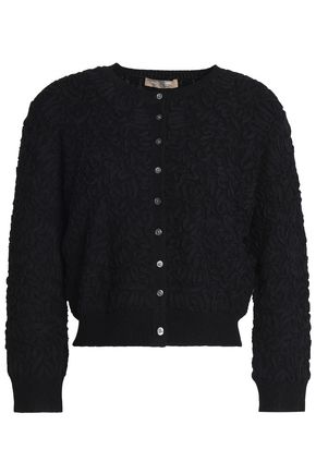 MICHAEL KORS COLLECTION Soutache grograin-appliquéd stretch-knit cardigan