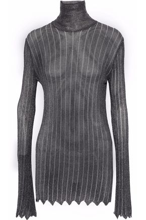 ELLERY Metallic striped open-knit turtleneck top