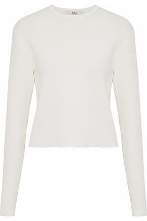 TIBI Cropped ribbed-knit top