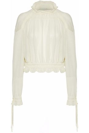 3.1 PHILLIP LIM Ruffle-trimmed gathered wool-blend sweater