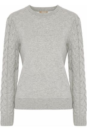 MICHAEL KORS COLLECTION Cable knit-paneled mélange cashmere-blend sweater