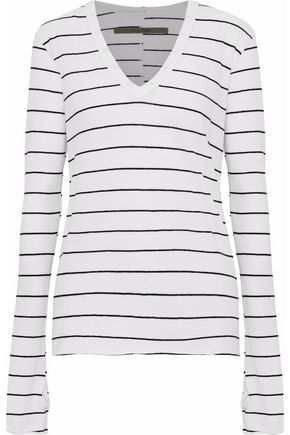 Striped Cotton And Cashmere Blend Top by Enza Costa