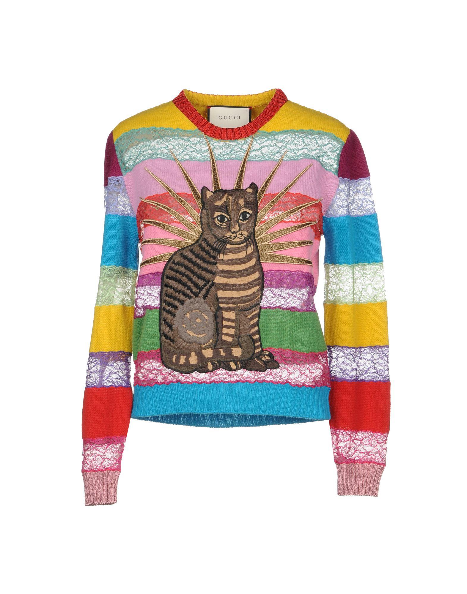 31190594e Gucci Cat Embroidered Lace & Wool Sweater, Multicolor In Multicolour ...
