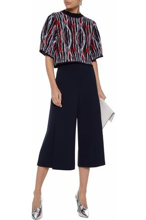 SOLACE LONDON Tallis cropped jacquard-knit top
