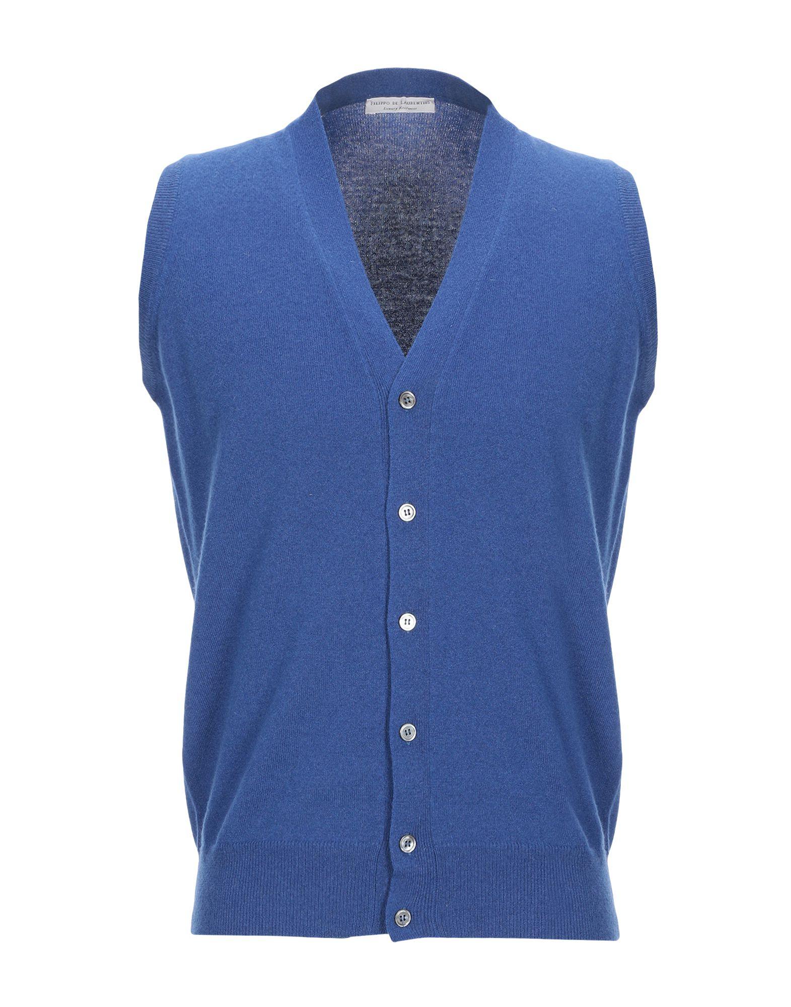 《セール開催中》FILIPPO DE LAURENTIIS メンズ カーディガン ブライトブルー 50 スーパー120 ウール 90% / カシミヤ 10%