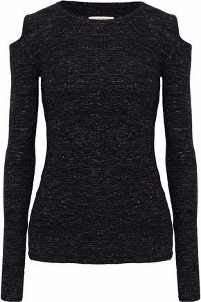 CURRENT/ELLIOTT Cold-shoulder marled wool-blend top